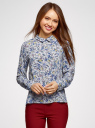 Блузка прямого силуэта с отложным воротником oodji #SECTION_NAME# (синий), 11411181/43414/7050F - вид 2