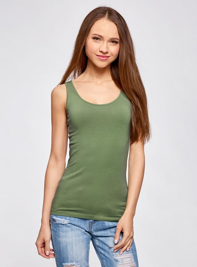 Комплект из двух базовых маек oodji для женщины (зеленый), 24315001T2/46147/6200N