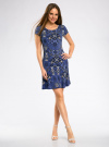 Платье трикотажное с воланами oodji #SECTION_NAME# (синий), 14011017/46384/7574E - вид 2