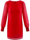 Платье прямого силуэта из струящейся ткани oodji #SECTION_NAME# (красный), 11900150-13/13632/4500N