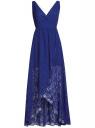 Платье длинное из кружева с асимметричным низом oodji для женщины (синий), 11913029/46034/7500N