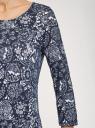 Платье трикотажное с вырезом-капелькой на спине oodji #SECTION_NAME# (синий), 24001070-5/15640/7910F - вид 5