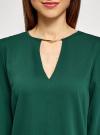 Блузка с вырезом-капелькой и металлическим декором oodji #SECTION_NAME# (зеленый), 21400396/38580/6900N - вид 4