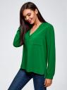 Блузка принтованная из вискозы oodji #SECTION_NAME# (зеленый), 11411049-1/24681/6B00N - вид 2