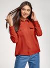 Блузка базовая из вискозы с нагрудными карманами oodji #SECTION_NAME# (красный), 11411127B/26346/4501N - вид 2