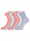 Комплект из десяти пар хлопковых носков oodji для женщины (разноцветный), 57102804T10/48022/7 - вид 2