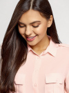 Блузка базовая из вискозы с нагрудными карманами oodji #SECTION_NAME# (розовый), 11411127B/42540/4000N - вид 4