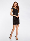 Платье трикотажное кружевное oodji #SECTION_NAME# (черный), 14001154/42644/2900L - вид 6