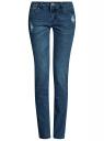 Джинсы slim с модными потертостями на карманах oodji для женщины (синий), 12101147/46718/7500W