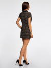 Платье мини с коротким рукавом oodji для женщины (бежевый), 11902153-1/45079/3329A - вид 3