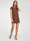 Платье прямое базовое oodji #SECTION_NAME# (коричневый), 22C01001-1B/45559/2955E - вид 6