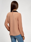 Блузка из струящейся ткани с контрастным воротником oodji #SECTION_NAME# (бежевый), 11411117-1B/49474/3529B - вид 3