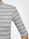 Водолазка в полоску с рукавом 3/4 oodji для женщины (серый), 15E01002/45973/2330S
