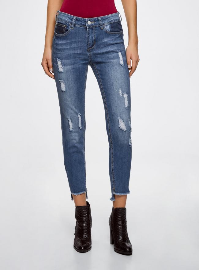 Рваные джинсы skinny  oodji #SECTION_NAME# (синий), 12103151-1/45379/7500W