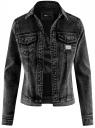 Куртка джинсовая с надписью на спине oodji #SECTION_NAME# (черный), 11109035/46846/2900W