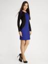 Платье облегающее с контрастными вставками oodji #SECTION_NAME# (синий), 14011009/45948/7529B - вид 6