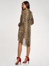 Платье шифоновое с асимметричным низом oodji для женщины (бежевый), 11913032/38375/3329A - вид 3