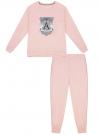 Пижама хлопковая с брюками oodji #SECTION_NAME# (розовый), 56002224/46154/4023P