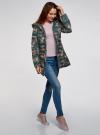 Куртка удлиненная с капюшоном oodji #SECTION_NAME# (зеленый), 10204058-1B/46708/6954F - вид 6