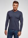 Пуловер базовый с V-образным вырезом oodji #SECTION_NAME# (синий), 4B212007M-1/34390N/7902M - вид 2