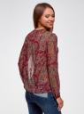 Блузка из струящейся ткани с контрастной отделкой oodji #SECTION_NAME# (красный), 11411059-2/38375/4912E - вид 3