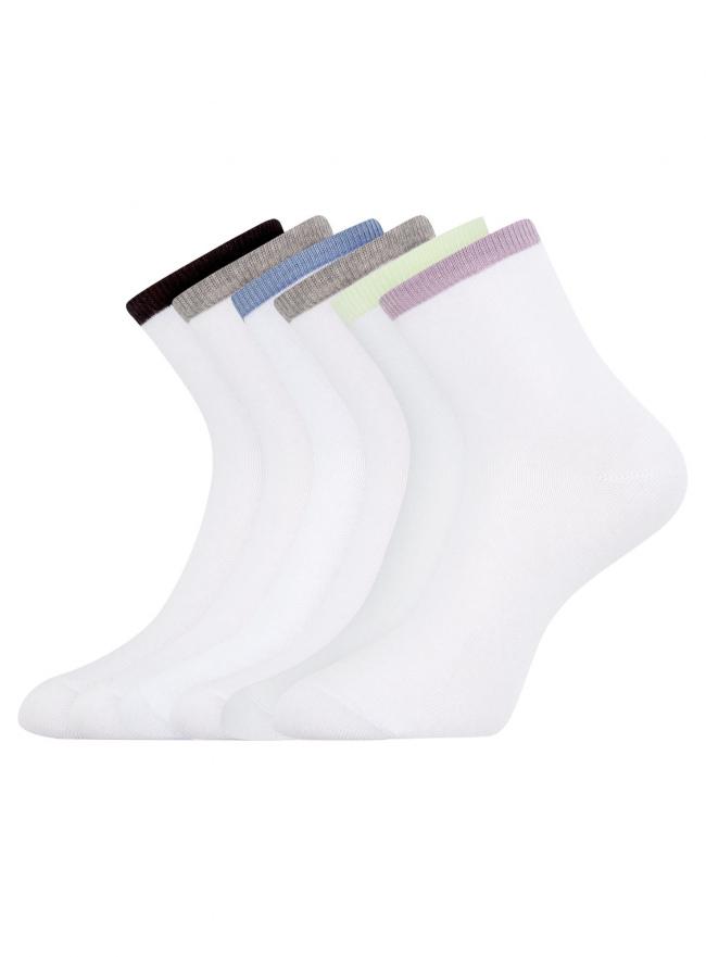 Комплект из шести пар носков oodji для женщины (белый), 57102466T6/47469/19TKB