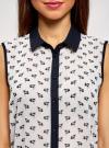 Топ из струящейся ткани с контрастной отделкой oodji для женщины (белый), 14903001-1B/42816/1279O - вид 4