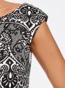 """Платье трикотажное с принтом """"кружево"""" oodji для женщины (белый), 14001170/37809/1229L"""
