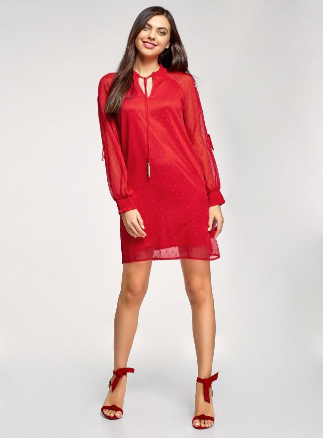 Платье шифоновое с манжетами на резинке oodji для женщины (красный), 11914001/46116/4500N