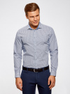 Рубашка приталенного силуэта принтованная oodji #SECTION_NAME# (синий), 3L110260M/19370N/7975G - вид 2