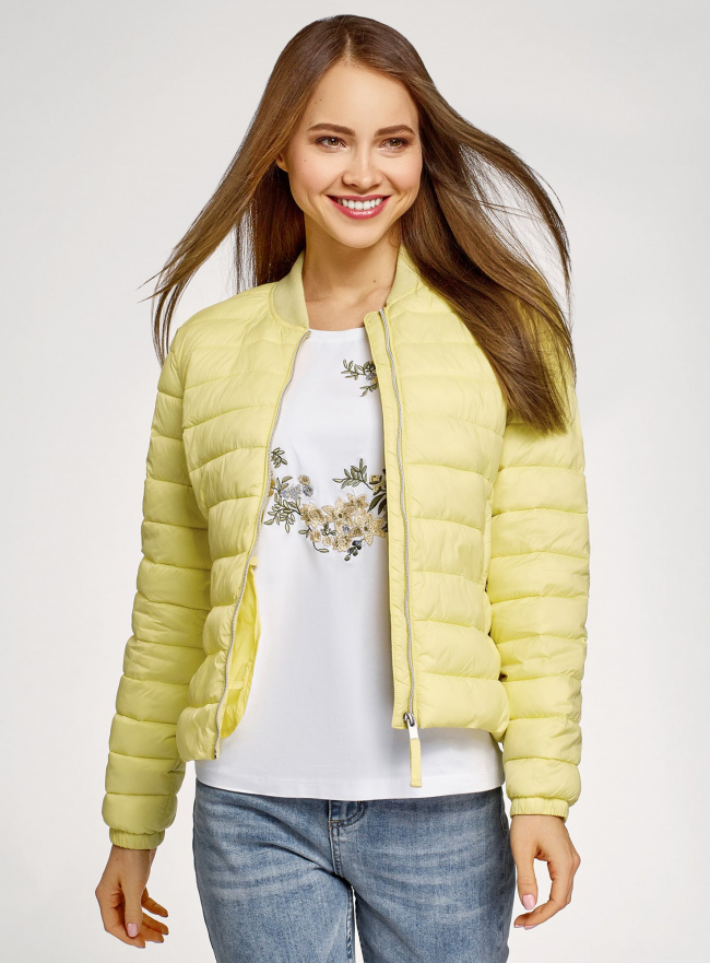 Куртка-бомбер на молнии oodji #SECTION_NAME# (желтый), 10203061-1B/33445/5000N