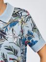 Поло на молнии с принтом oodji для женщины (синий), 19301012-1/46149/7019F