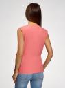 Жилет из струящейся ткани с поясом oodji #SECTION_NAME# (розовый), 22305004-1/43859/4100N - вид 3