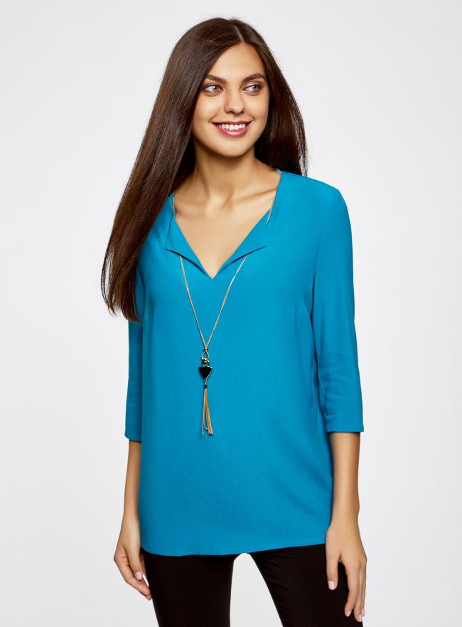 Блузка прямого силуэта с украшением oodji #SECTION_NAME# (бирюзовый), 21404021/43281/7300N
