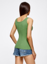 Майка базовая oodji для женщины (зеленый), 14315001B/46174/6200N