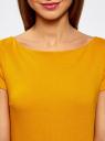 Платье трикотажное с вырезом-лодочкой oodji #SECTION_NAME# (желтый), 14001117-2B/16564/5200N - вид 4