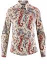 """Рубашка хлопковая с принтом """"пейсли"""" oodji #SECTION_NAME# (слоновая кость), 21402212-1/45966/3045E"""