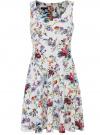 Платье трикотажное без рукавов oodji #SECTION_NAME# (белый), 14015005/45446/1019F - вид 6