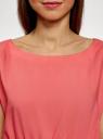 Блузка из вискозы с пояском oodji #SECTION_NAME# (красный), 11400345-5B/48756/4300N - вид 4