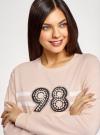 Свитшот хлопковый с искусственным жемчугом oodji #SECTION_NAME# (розовый), 14808015-58/46919/4010P - вид 4
