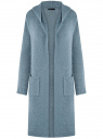 Кардиган с капюшоном и накладными карманами oodji #SECTION_NAME# (синий), 63205252/48953/7000N