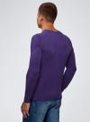 Пуловер базовый с V-образным вырезом oodji #SECTION_NAME# (фиолетовый), 4B212007M-1/34390N/8801M - вид 3