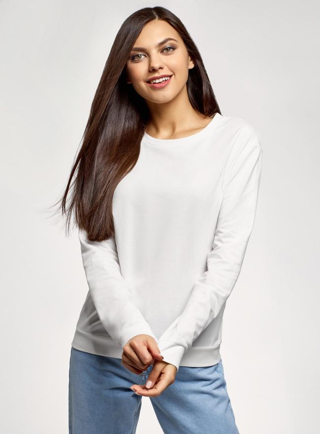 Свитшот хлопковый базовый oodji для женщины (белый), 14808015B/46919/1200N