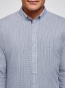 Рубашка приталенного силуэта из хлопка oodji #SECTION_NAME# (синий), 3L110328M/44425N/1075G - вид 4