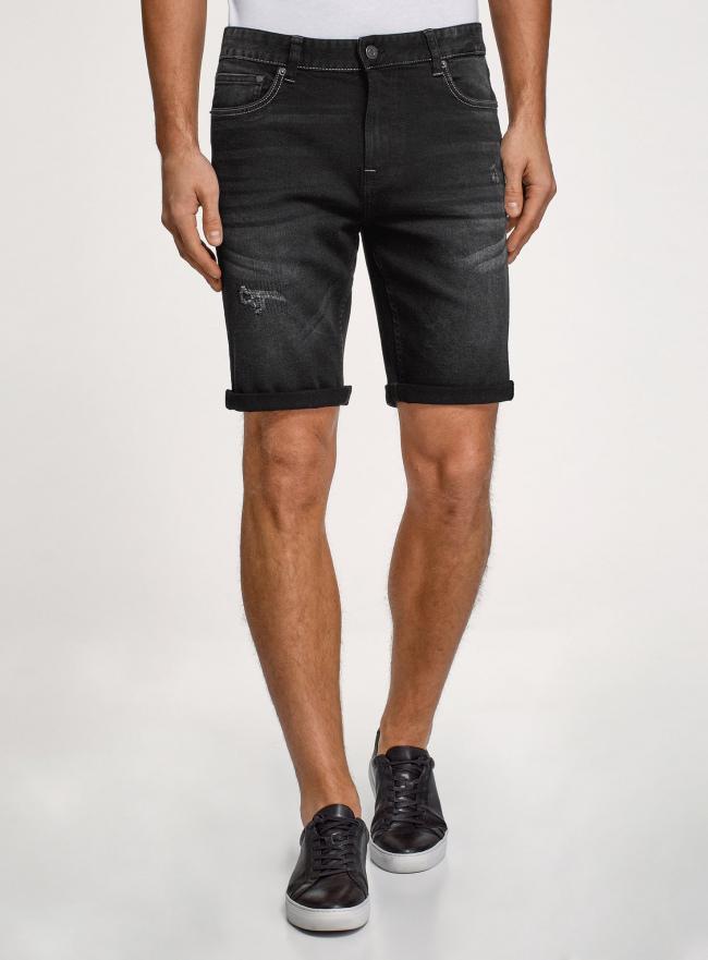 Шорты джинсовые с потертостями oodji #SECTION_NAME# (черный), 6L220021M/47884/2900W