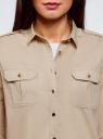 Рубашка с погонами и нагрудными карманами oodji #SECTION_NAME# (бежевый), 13L11015/26357/3300N - вид 4