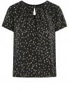 Блузка свободного силуэта с вырезом-капелькой oodji #SECTION_NAME# (черный), 11411157/46633/2957G