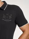 Поло из ткани пике с вышивкой oodji #SECTION_NAME# (черный), 5L422009I-1/44032N/2929P - вид 5