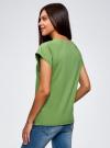 Футболка хлопковая базовая oodji для женщины (зеленый), 14707001-4B/46154/6200N - вид 3