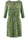 Платье вискозное с рукавом 3/4 oodji #SECTION_NAME# (зеленый), 11901153-1B/42540/6A4CF